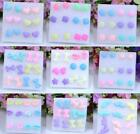 Candy Resin Plastic Stick Stud Earrings Fashion Jewelry 6pairs / lot