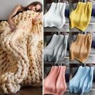 Home Living Room Bed Warm Thick Knitted Sofa Solid Blankets K0E1