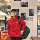 2018 Fashion men solid hoodie loose brushed couples letters printing pullover