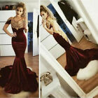 Velvet Burgundy Mermaid Prom Dresses Gold Appliques Evening Formal Party Dresses