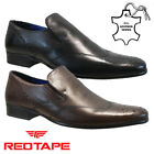 MENS RED TAPE REAL LEATHER SLIP ON CASUAL FORMAL SMART WORK BROGUE SHOES SIZE