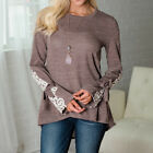 Women Loose Lace Patchwork Bow Long Sleeved O-Neck Irregular T-Shirt Blouse Tops