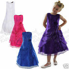 Girls Bridesmaid Dress Kids Party Dress White Purple Pink 7-12 Years *LAST FEW*