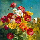Flower Red Poppies Oil painting Printed on canvas P1063