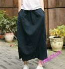 Vintage Womens Leisure Sheath A-Line Linen Blend Spring Long Skirts Dresses New