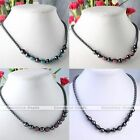 Woven Resin Black Hematite Ball Bead Disco Macrame Magnetic Clasp Necklace chain