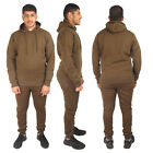 Mens Ribbed Tracksuit Set Fleece Hoodie hooded Top Bottoms Pant Joggers Gym Size
