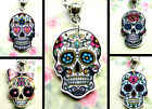 SUGAR SKULL NECKLACE ACRYLIC CHARM PENDANT DAY OF THE DEAD