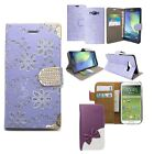 Case Diamond Bling Book Flip Kitty Bow For Samsung Galaxy Magnetic Buckle
