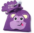 Toddlers Girls Knit Animal Face Beanie Hat Gloves Cap Set Purple Monkey  #37004