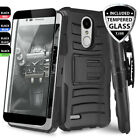 For LG Tribute Dynasty Rugged Phone Case Belt Clip Holster+Black Tempered Glass
