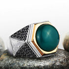 Solid Silver Mens Handmade Ring with Green AGATE NATURAL GEMSTONE and Black Onyx