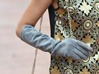 """40cm(15.75"""") long real suede leather evening elbow gloves  grey"""
