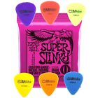Ernie Ball Electric Guitar Strings Slinky Nickel Wound - 2 Pack with 6 Plectrums