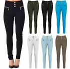 Womens Ladies Stretch High Waisted Button Up Leggings Jeans Trousers