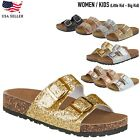 New Women Kids Glitter Sequins Sandals Gladiator Flip Flops Flat Strappy Shoes