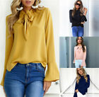Hot Sale 4Colors Women Solid Tie Long Speaker Sleeve T-shirt Tops Clothing S-XL