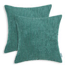"2Pcs Square Pillow Throw Cushion Covers Solid Soft Corduroy Corn Stripes 22""X22"""
