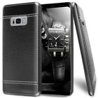 For Samsung Galaxy S8 Shockproof Matte TPU Luxury Leather Pattern Hybrid Case