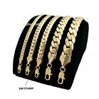 Mens Miami Cuban link Chain Necklace Bracelet 14K Gold Plated image