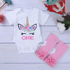 Toddler Kids Baby Girls Unicorn Top Romper Bodysuit T-shirt Tops Outfits Clothes