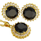 Lady Round Gemstone Necklace Pendant Earrings 18K Yellow Gold Plated Jewelry Set