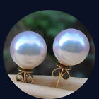 10mm AAA White South Sea Shell Pearl 14k Gold Plated Stud Earrings