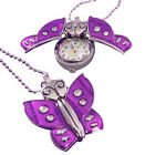 Custom engraved purple butterfly pendant watch with gift pouch - K2-prl-p