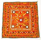 "24"" X 24"" VINTAGE RABARI FINE HAND EMBROIDERY MIRROR ETHNIC TRIBAL WALL HANGING"