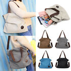 Womens Large Canvas Shoulder Bag Tote Handbag Satchel Bag Messenger Shopping UK