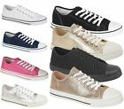 WOMENS FLAT LACE UP RUBBER SOLE CANVAS TRAINERS PUMPS CASUAL SNEAKERS SIZE 3-8
