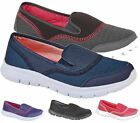 LADIES RUNNING TRAINERS SLIP ON ELASTIC GUSSET COMFY MESH GYM SPORTS SHOES SIZE