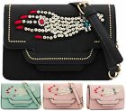 LADIES FAUX LEATHER SEQUINED JEWEL STUDS SATCHEL MESSENGER TOTE SHOULDER BAG