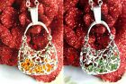 LAST FEW HANDBAG PENDANT NECKLACE SILVER FILIGREE JOINTED CAGE YELLOW GREEN