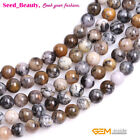 """Natural Round Brown Dendritic Moss Opal Stone Loose Beads for Jewelry Making 15"""""""