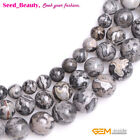 """Natural Gray Silver Crazy Agate Stone Round Beads for Jewelry Making Design 15"""""""