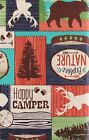 Lodge Happy Camper Vinyl Tablecloth Bears Bucks Canoes Pine Trees Flannel Back