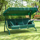 Roma 3 Seater Garden Patio Swing Seat - Green Frame with Luxury Cushions