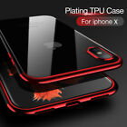 Apple iPhone X 8 7 6 Plus Shockproof Plating Clear Bumper Protective Case Cover
