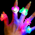 Lot 10/50pcs LED Finger Ring For Kid Glow in The Dark Party Favor Funny Toy