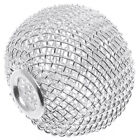 Silver Tone Mesh Wire Large Hole Bead - 21.5x25mm (2)