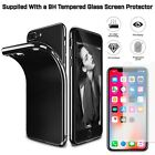 Shockproof Jet Black 360 Silicone Case Cover for Apple iPhone X 8 7 6S Plus SE 5