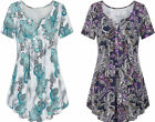 Womens Short Sleeve Floral Tops V-Neck Loose Print Tunic Shirt