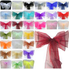 1 10 50 100 Organza Sashes Chair Cover Bows Sash Wedding Anniversary Party Decor