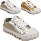 GIRLS SHINY INFANTS SHOES CHILDREN'S METALLIC PUMPS PLIMSOLLS SNEAKERS TRAINERS
