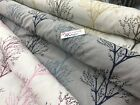 100% cotton designer panama linen look fabric embroided tree branches design