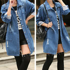 Fashion Casual Long Sleeve Denim Jacket Jeans Coat Trench Parka Outwear