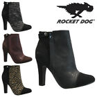 NEW LADIES ROCKET DOG FAUX SUEDE STILETTO HEEL ZIP COURT SHOES ANKLE BOOTS SIZE