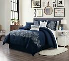 Linz 7-Piece Navy Blue White Embroidered Paisley Floral Scroll Comforter Set image