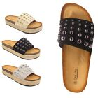 WOMENS LADIES STUDDED FLATFORM ESPADRILLE WEDGE SANDALS SHOES SIZE 3 4 5 6 7 8